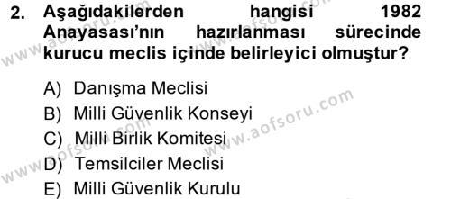 Sosyal Hizmet Bölümü 1. Yarıyıl Türk Anayasa Hukuku Dersi 2015 Yılı Güz Dönemi Dönem Sonu Sınavı 2. Soru