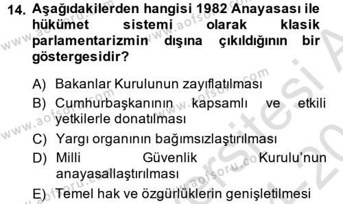 Türk Anayasa Hukuku Dersi Tek Ders Sınavı Deneme Sınav Soruları 14. Soru
