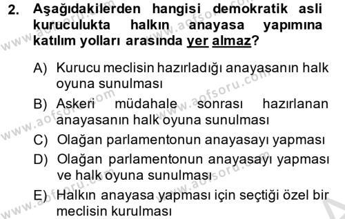 Türk Anayasa Hukuku Dersi 2014 - 2015 Yılı Tek Ders Sınavı 2. Soru