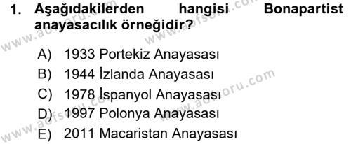 Türk Anayasa Hukuku Dersi 2015 - 2016 Yılı Ara Sınavı 1. Soru