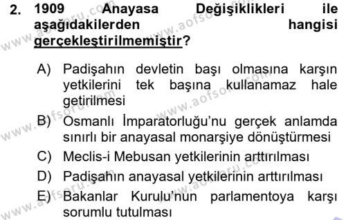 Sosyal Hizmet Bölümü 1. Yarıyıl Türk Anayasa Hukuku Dersi 2016 Yılı Güz Dönemi Ara Sınavı 2. Soru