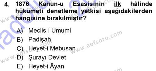 Türk Anayasa Hukuku Dersi 2015 - 2016 Yılı Ara Sınavı 4. Soru