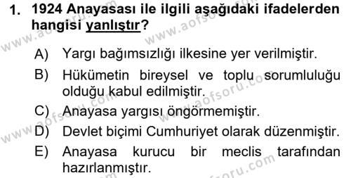Yerel Yönetimler Bölümü 1. Yarıyıl Türk Anayasa Hukuku Dersi 2016 Yılı Güz Dönemi Dönem Sonu Sınavı 1. Soru