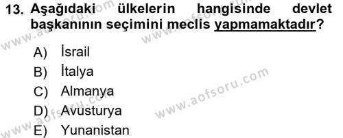 Türk Anayasa Hukuku Dersi 2015 - 2016 Yılı Tek Ders Sınavı 13. Soru 1. Soru