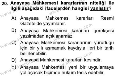 Türk Anayasa Hukuku Dersi 2015 - 2016 Yılı Tek Ders Sınavı 20. Soru 1. Soru