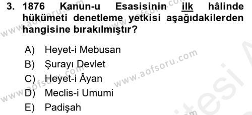 Türk Anayasa Hukuku Dersi 2015 - 2016 Yılı Tek Ders Sınavı 3. Soru