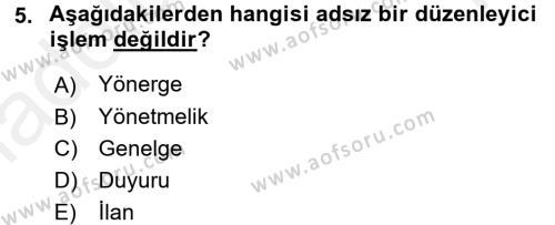 Türk Anayasa Hukuku Dersi 2015 - 2016 Yılı Tek Ders Sınavı 5. Soru 1. Soru