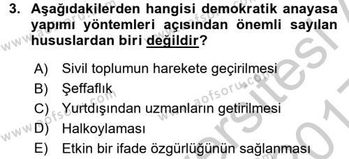 Türk Anayasa Hukuku Dersi 2016 - 2017 Yılı 3 Ders Sınav Soruları 3. Soru