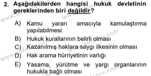 Türk Anayasa Hukuku Dersi 2017 - 2018 Yılı 3 Ders Sınavı 2. Soru