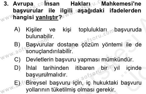 Türk Anayasa Hukuku Dersi 2017 - 2018 Yılı 3 Ders Sınavı 3. Soru