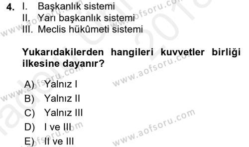 Türk Anayasa Hukuku Dersi 2017 - 2018 Yılı 3 Ders Sınavı 4. Soru