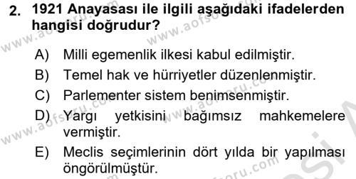 Türk Anayasa Hukuku Dersi 2017 - 2018 Yılı Ara Sınavı 2. Soru