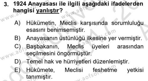 Türk Anayasa Hukuku Dersi 2017 - 2018 Yılı Ara Sınavı 3. Soru