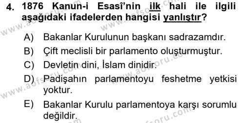 Türk Anayasa Hukuku Dersi 2017 - 2018 Yılı Ara Sınavı 4. Soru