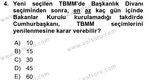 Türk Anayasa Hukuku Dersi 2017 - 2018 Yılı Dönem Sonu Sınavı 4. Soru