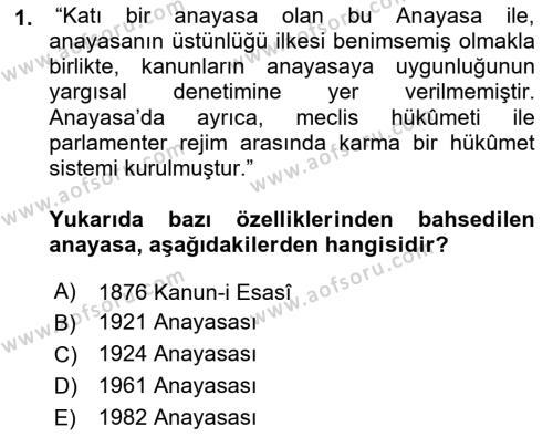 Türk Anayasa Hukuku Dersi 2018 - 2019 Yılı (Vize) Ara Sınav Soruları 1. Soru
