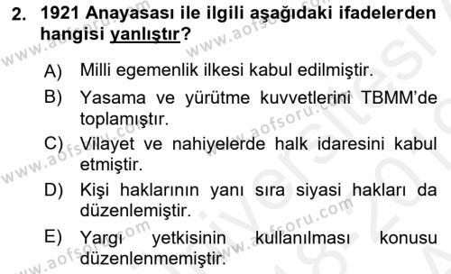 Türk Anayasa Hukuku Dersi 2018 - 2019 Yılı (Vize) Ara Sınav Soruları 2. Soru
