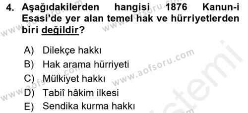 Türk Anayasa Hukuku Dersi 2018 - 2019 Yılı (Vize) Ara Sınav Soruları 4. Soru