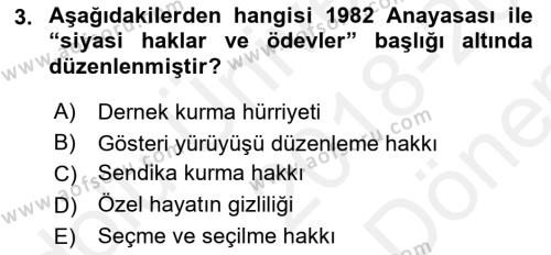 Türk Anayasa Hukuku Dersi 2018 - 2019 Yılı (Final) Dönem Sonu Sınav Soruları 3. Soru