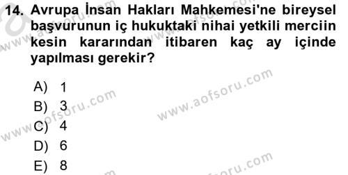 Türk Anayasa Hukuku Dersi Ara Sınavı Deneme Sınav Soruları 14. Soru