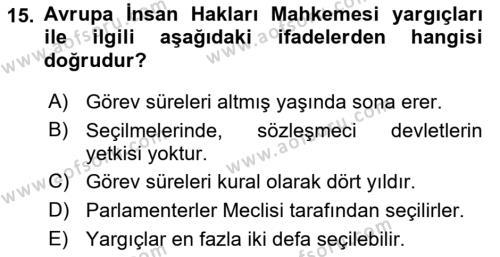 Türk Anayasa Hukuku Dersi Ara Sınavı Deneme Sınav Soruları 15. Soru