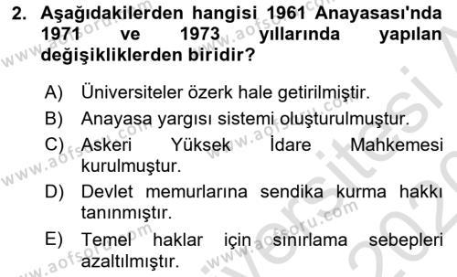 Türk Anayasa Hukuku Dersi 2019 - 2020 Yılı (Vize) Ara Sınav Soruları 2. Soru