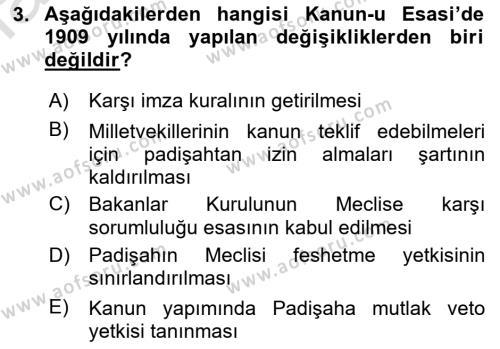 Türk Anayasa Hukuku Dersi 2019 - 2020 Yılı (Vize) Ara Sınav Soruları 3. Soru