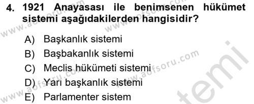 Türk Anayasa Hukuku Dersi 2019 - 2020 Yılı (Vize) Ara Sınav Soruları 4. Soru