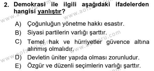 Türk Anayasa Hukuku Dersi 2019 - 2020 Yılı (Final) Dönem Sonu Sınav Soruları 2. Soru
