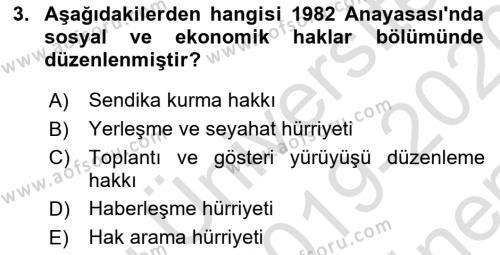 Türk Anayasa Hukuku Dersi 2019 - 2020 Yılı (Final) Dönem Sonu Sınav Soruları 3. Soru