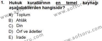 Muhasebe ve Vergi Uygulamaları Bölümü 1. Yarıyıl Muhasebe ve Hukuk Dersi 2014 Yılı Güz Dönemi Tek Ders Sınavı 1. Soru