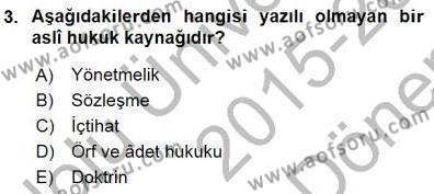 Muhasebe ve Hukuk Dersi 2015 - 2016 Yılı Dönem Sonu Sınavı 3. Soru