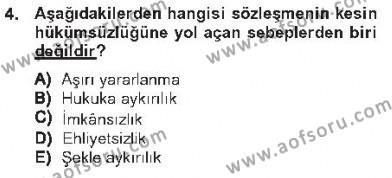 Maliye Bölümü 2. Yarıyıl Borçlar Hukuku Dersi 2013 Yılı Bahar Dönemi Tek Ders Sınavı 4. Soru