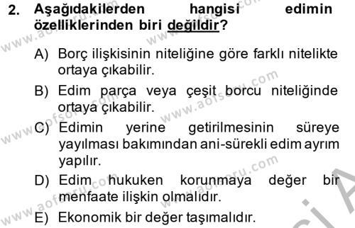 Konaklama İşletmeciliği Bölümü 2. Yarıyıl Borçlar Hukuku Dersi 2014 Yılı Bahar Dönemi Ara Sınavı 2. Soru