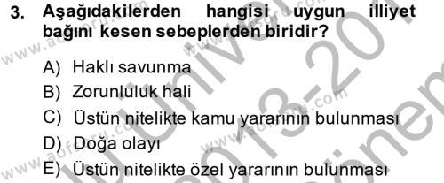Borçlar Hukuku Dersi 2013 - 2014 Yılı (Final) Dönem Sonu Sınav Soruları 3. Soru