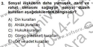 Emlak ve Emlak Yönetimi Bölümü 1. Yarıyıl Hukukun Temel Kavramları I Dersi 2015 Yılı Güz Dönemi Ara Sınavı 3. Soru