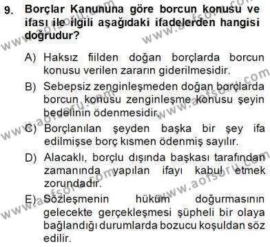 Hukukun Temel Kavramları 2 Dersi Ara Sınavı Deneme Sınav Soruları 9. Soru