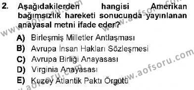 Özel Güvenlik ve Koruma Bölümü 1. Yarıyıl Anayasa I Dersi 2013 Yılı Güz Dönemi Ara Sınavı 2. Soru