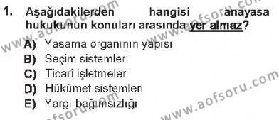 Özel Güvenlik ve Koruma Bölümü 1. Yarıyıl Anayasa I Dersi 2013 Yılı Güz Dönemi Tek Ders Sınavı 1. Soru