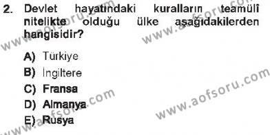 Anayasa 1 Dersi 2012 - 2013 Yılı Tek Ders Sınavı 2. Soru