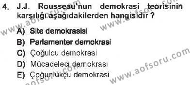 Özel Güvenlik ve Koruma Bölümü 1. Yarıyıl Anayasa I Dersi 2013 Yılı Güz Dönemi Tek Ders Sınavı 4. Soru
