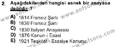 Özel Güvenlik ve Koruma Bölümü 1. Yarıyıl Anayasa I Dersi 2014 Yılı Güz Dönemi Ara Sınavı 2. Soru