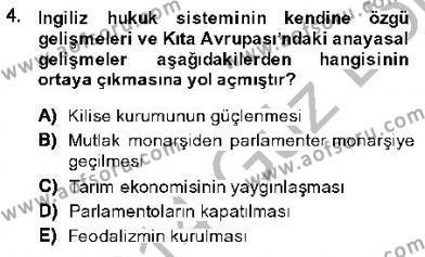 Anayasa 1 Dersi 2013 - 2014 Yılı Dönem Sonu Sınavı 4. Soru