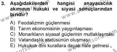 Anayasa 1 Dersi 2013 - 2014 Yılı Tek Ders Sınavı 3. Soru