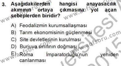 Anayasa 1 Dersi 2014 - 2015 Yılı Dönem Sonu Sınavı 3. Soru