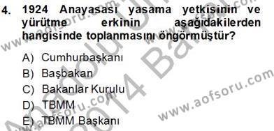 Özel Güvenlik ve Koruma Bölümü 2. Yarıyıl Anayasa II Dersi 2013 Yılı Bahar Dönemi Dönem Sonu Sınavı 4. Soru