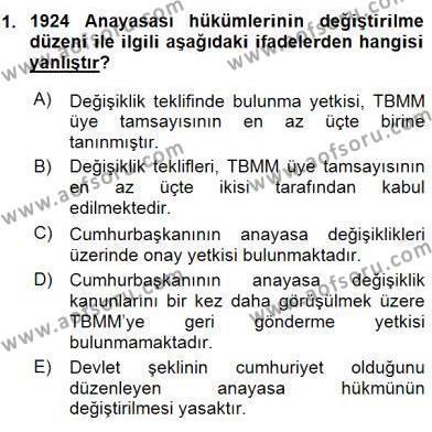 Anayasa 2 Dersi 2015 - 2016 Yılı Ara Sınavı 1. Soru