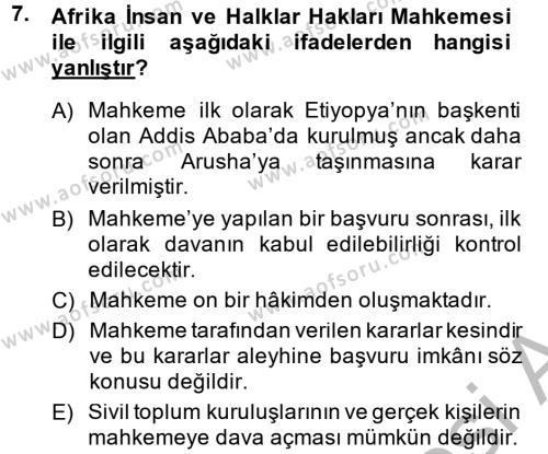 Temel İnsan Hakları Bilgisi 2 Dersi Ara Sınavı Deneme Sınav Soruları 7. Soru