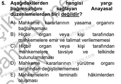 Maliye Bölümü 2. Yarıyıl Temel İdare Hukuku Dersi 2013 Yılı Bahar Dönemi Ara Sınavı 5. Soru