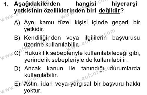 Maliye Bölümü 2. Yarıyıl Temel İdare Hukuku Dersi 2015 Yılı Bahar Dönemi Dönem Sonu Sınavı 1. Soru
